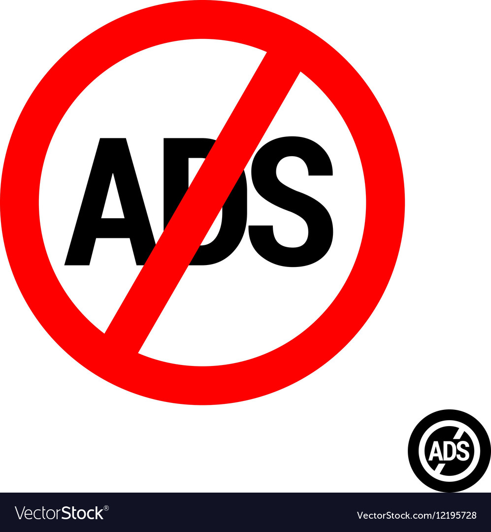 No ads round button icon vector image