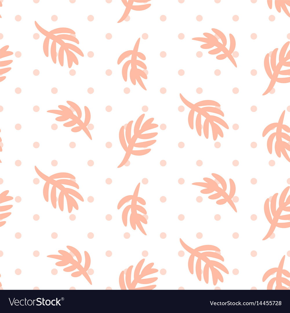 Pink palm leaves on polka dot white seamless