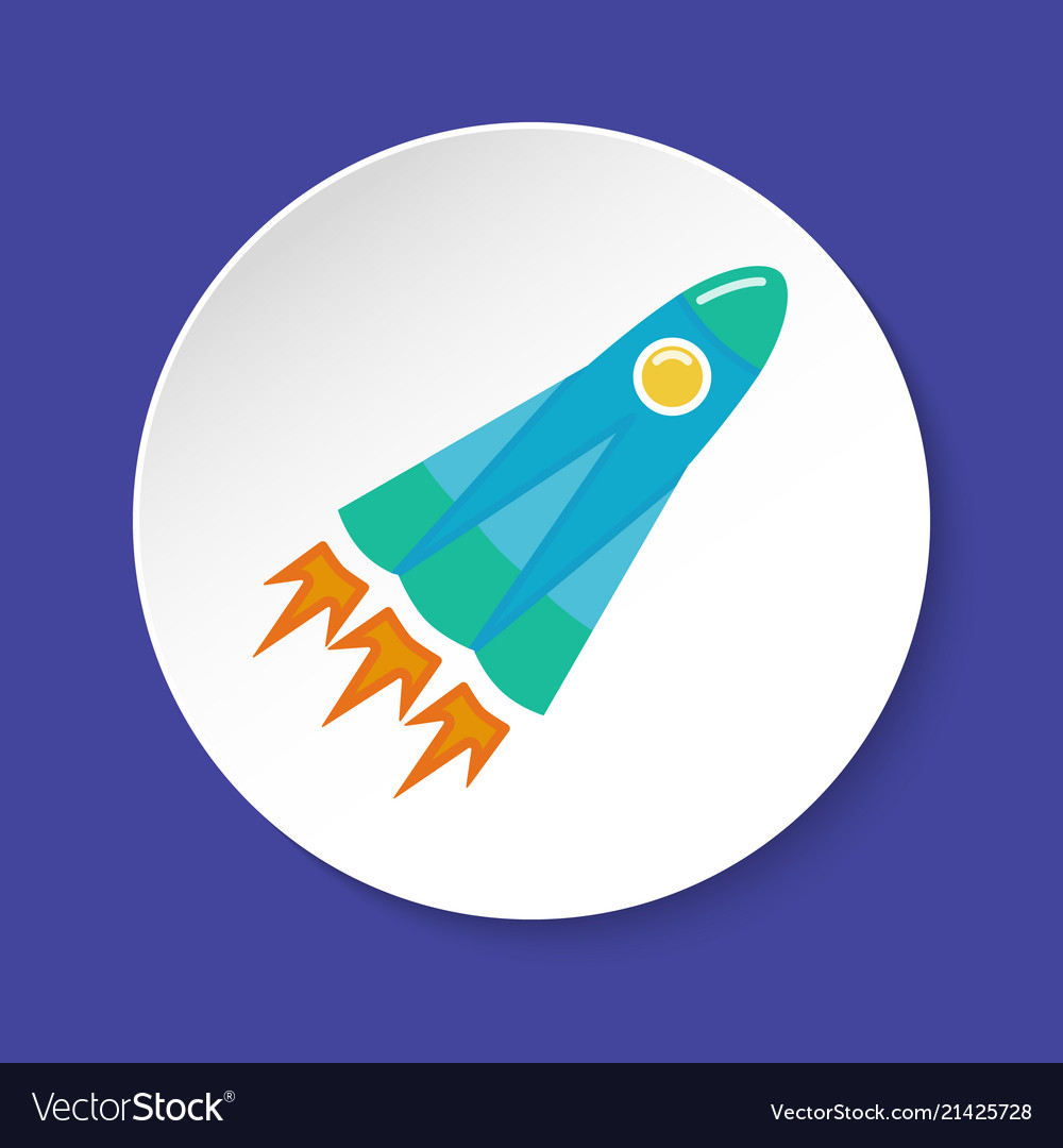 Rocket icon in flat style on round button
