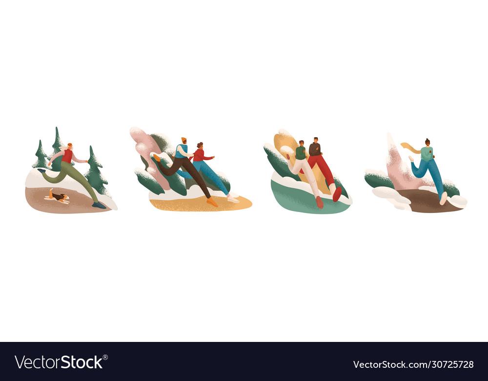 Set cartoon active people at winter running