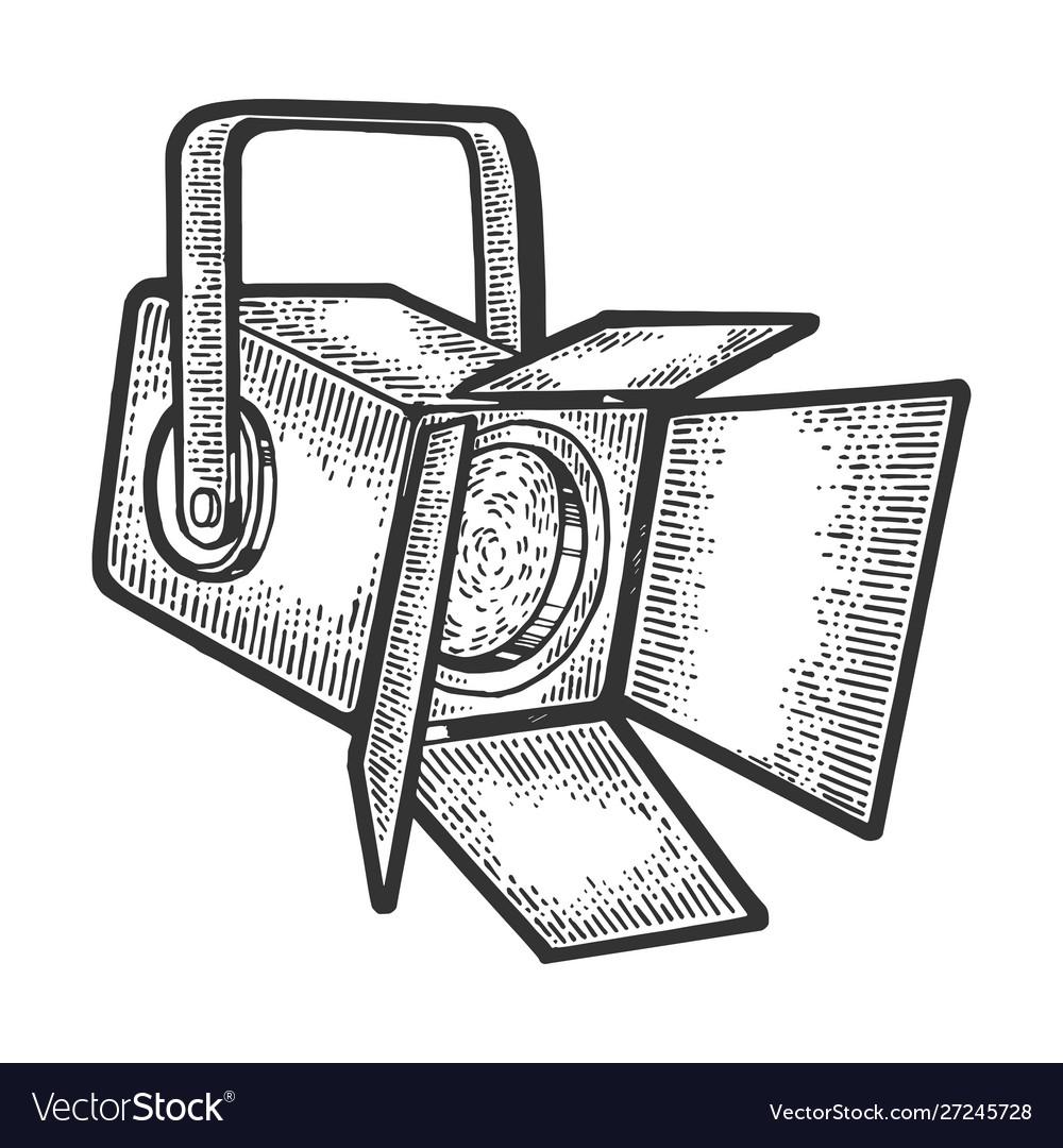 Spotlight projector sketch engraving
