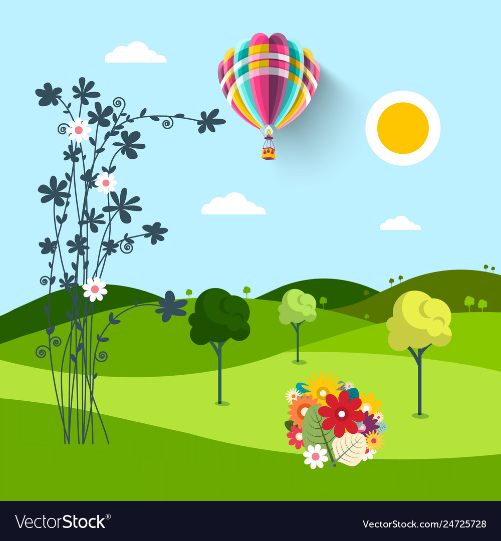 Spring meadow with flowers trees and hot air