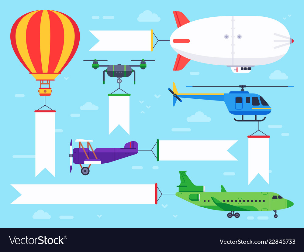Air vehicles banner flying helicopter sign