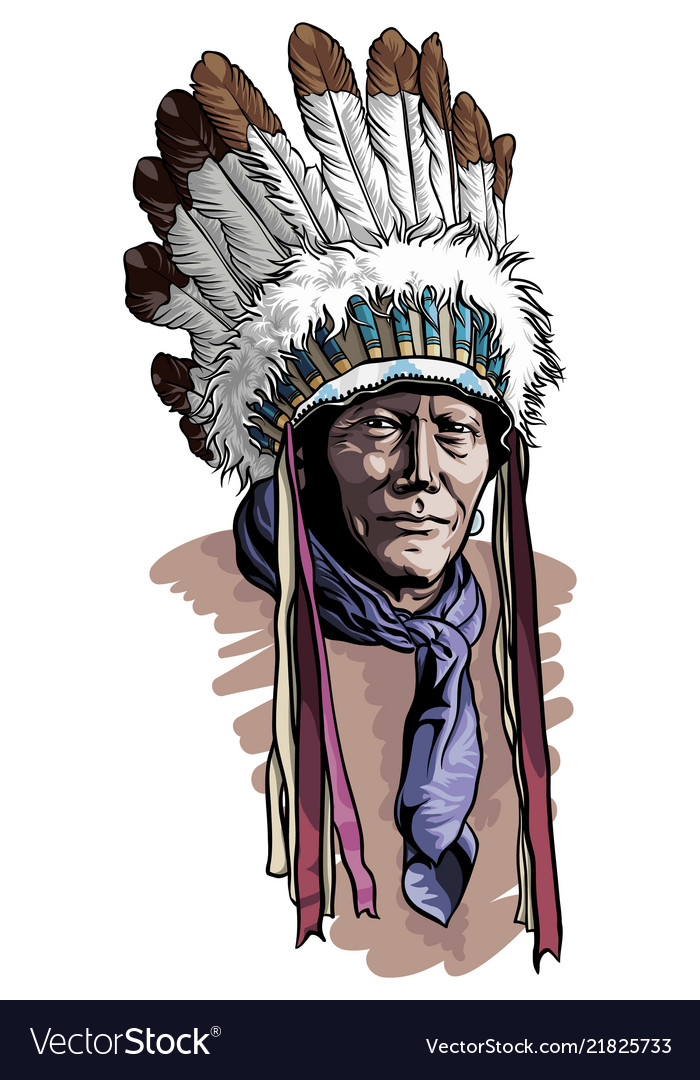 Apache Man Wearing An Indian Chief Headdress Vector Image