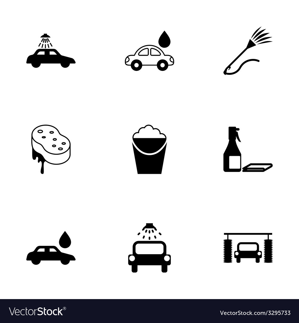 Black Car Wash Icons Set Royalty Free Vector Image