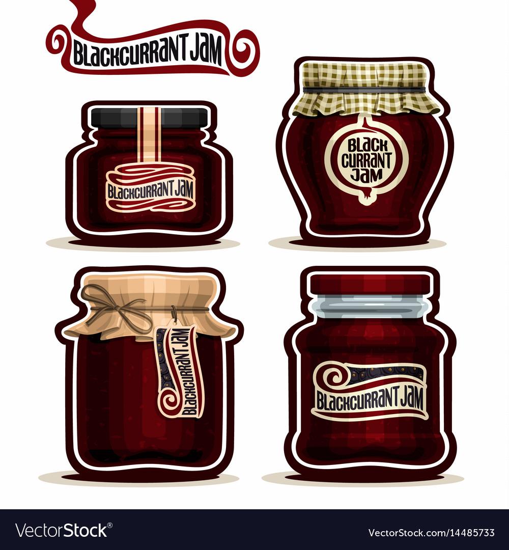 Blackcurrant jam in glass jars