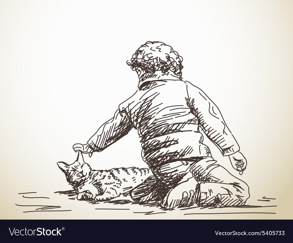 Child playing with cat vector image