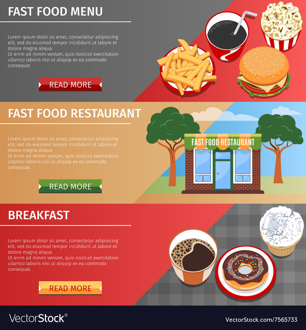 Colorful Fast Food Banners Set vector image