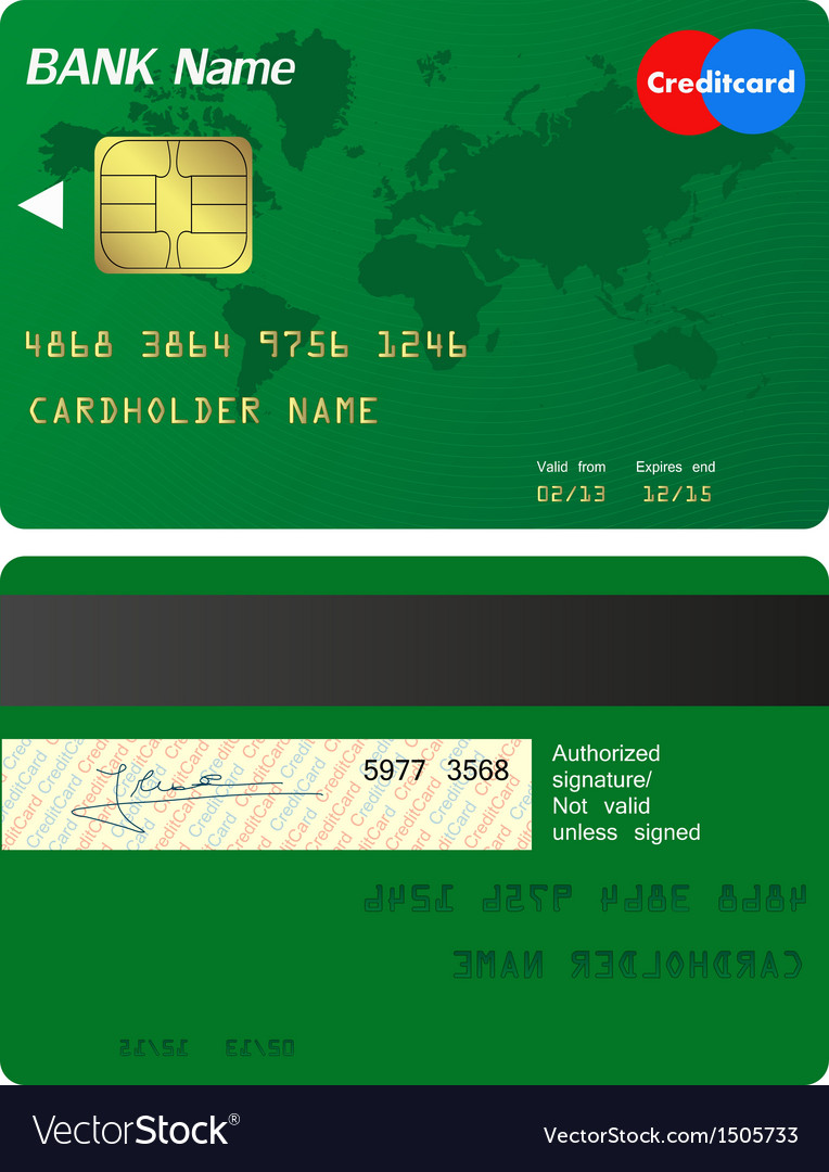 Front And Back Of Credit Card Royalty Free Vector Image