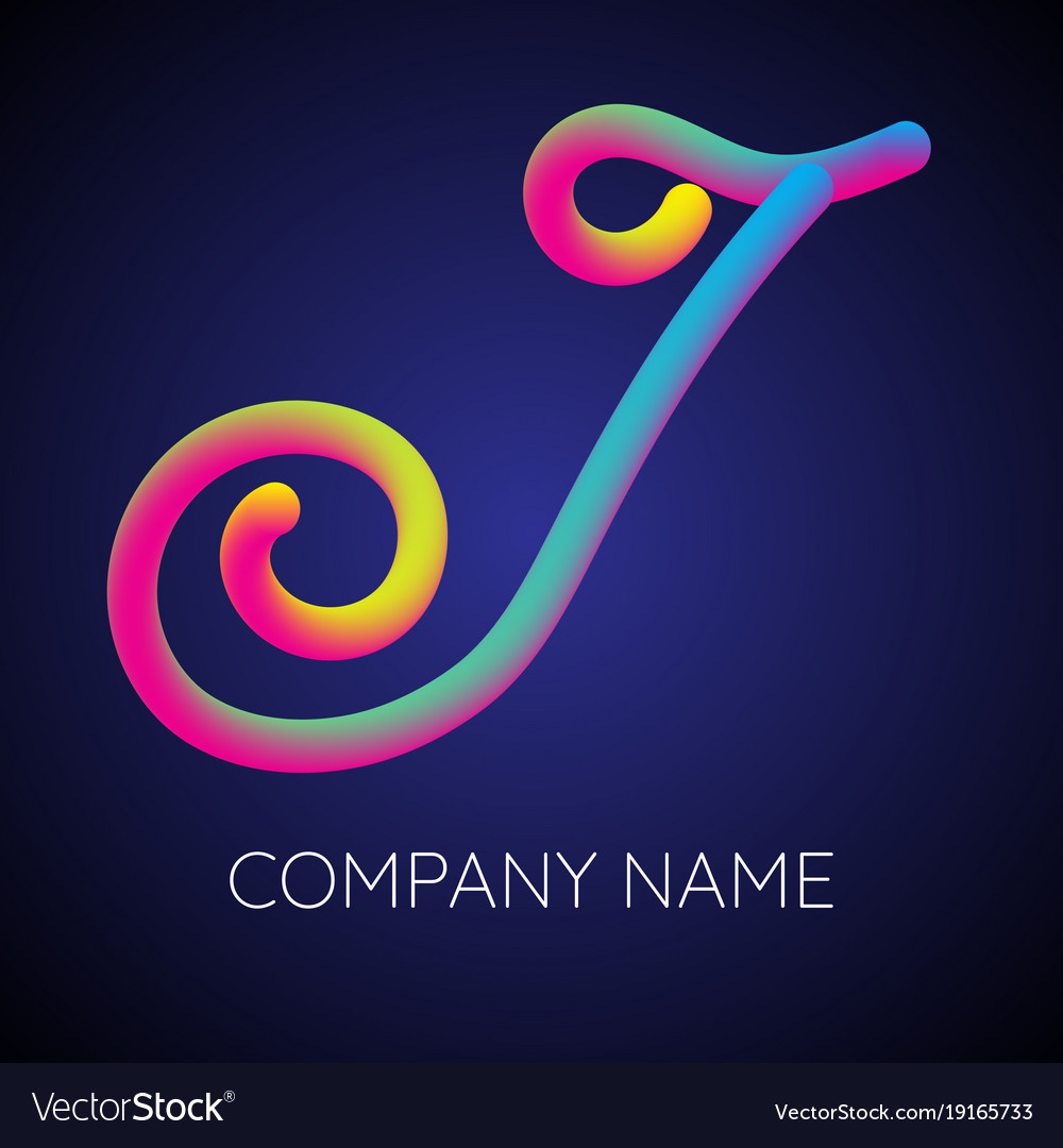 J letter logo icon blending color vector image