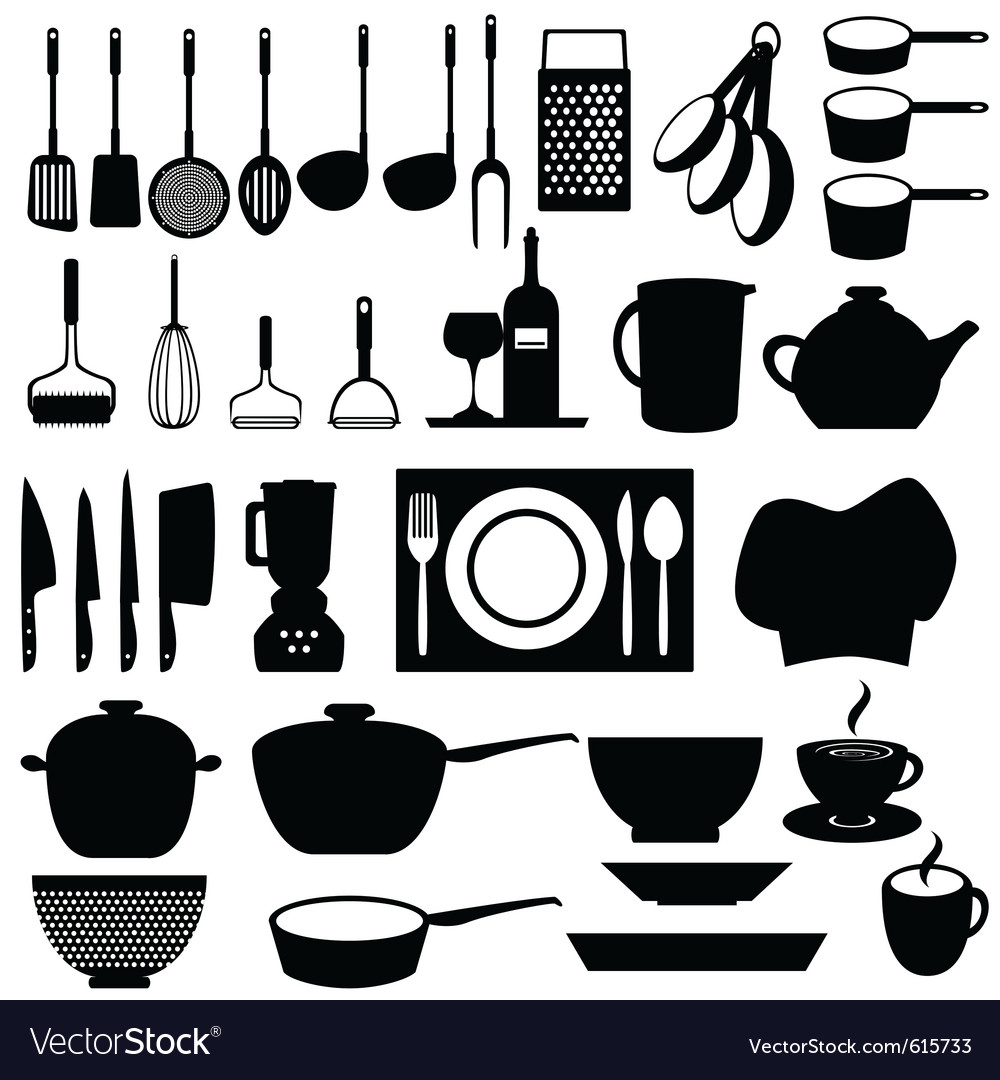 Kitchen silhouettes Royalty Free Vector Image - VectorStock