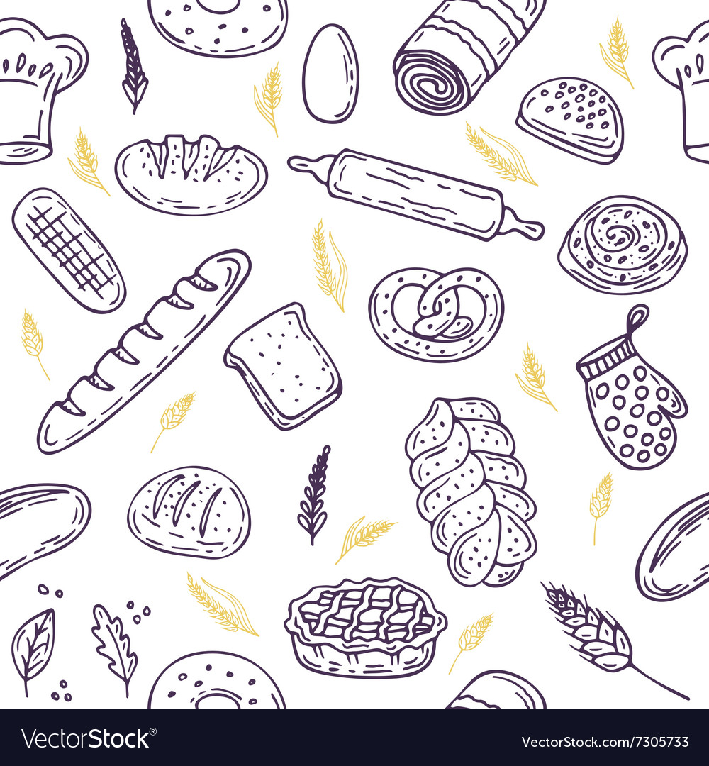 Seamless pattern with bread and wheat Hand drawn