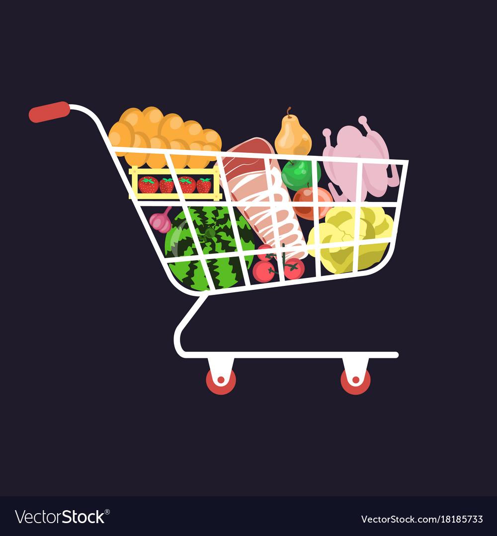 Shopping cart food vector image