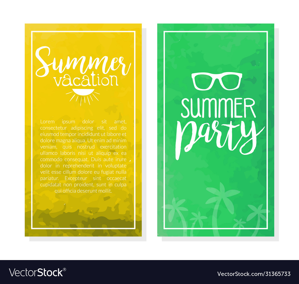 Summer vacation banner template set party
