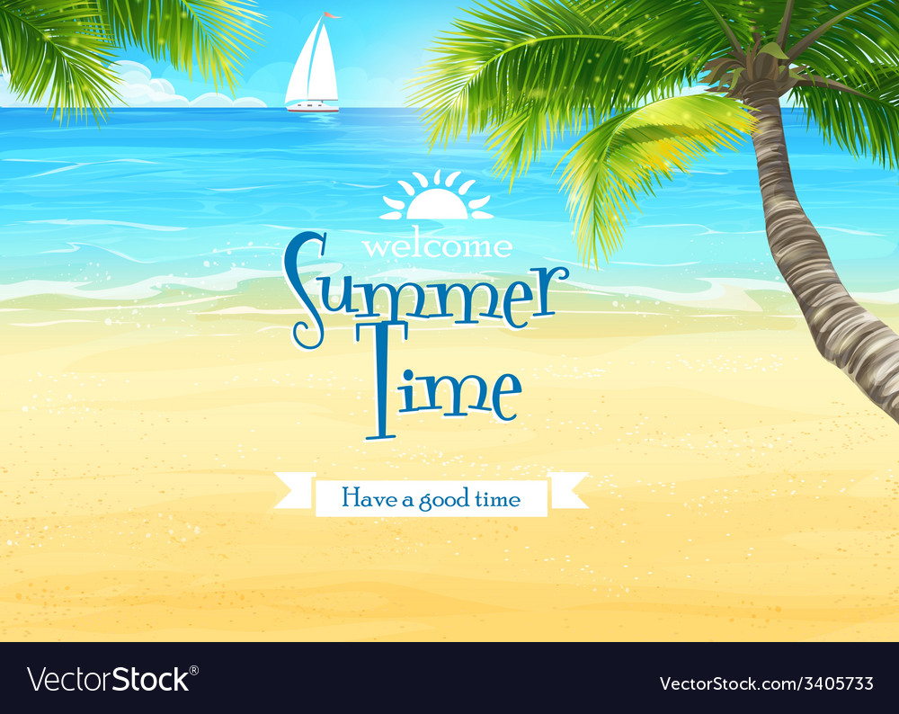 The beach and ocean with palm trees and sailing vector image
