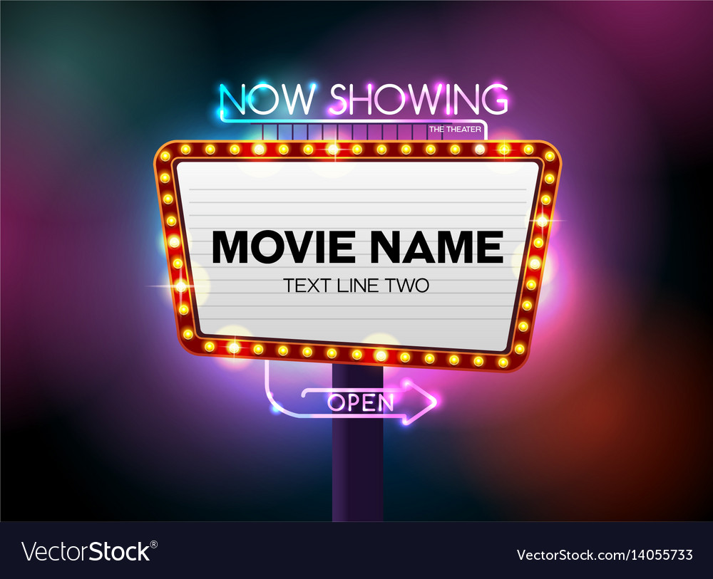 Theater sign and neon light vector image