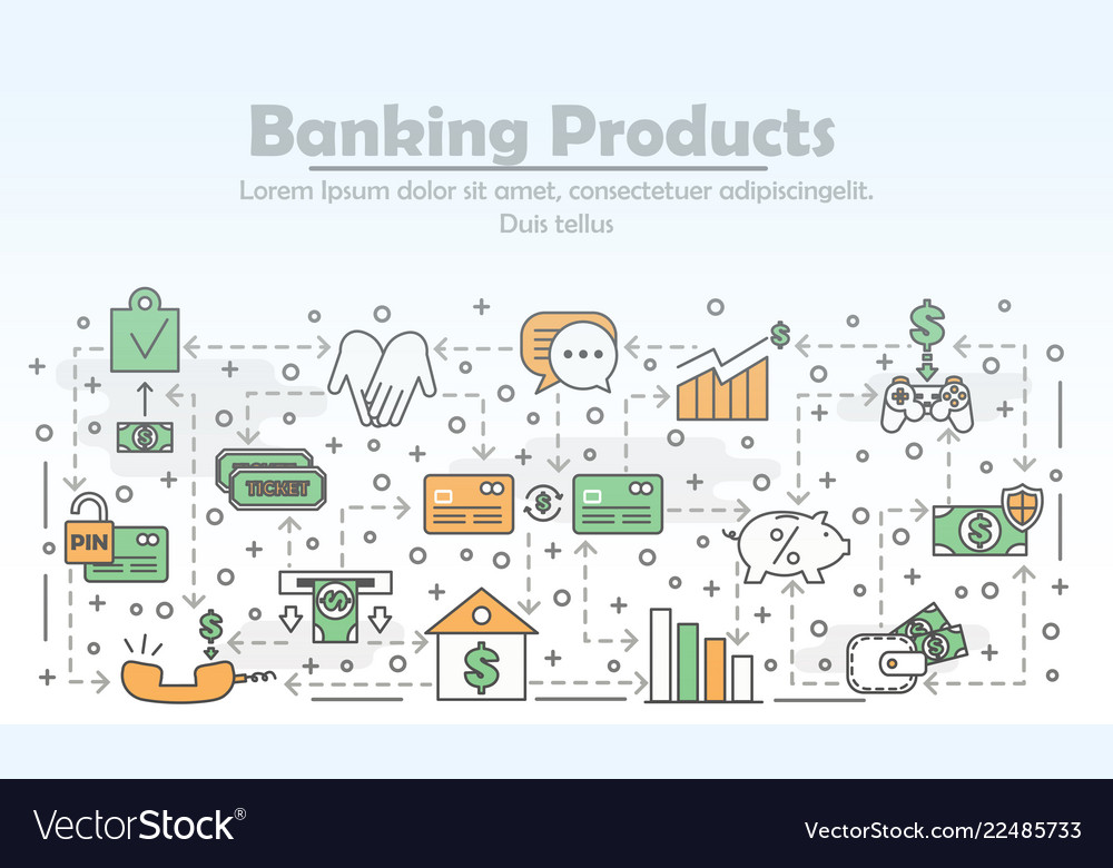Thin line banking products poster banner