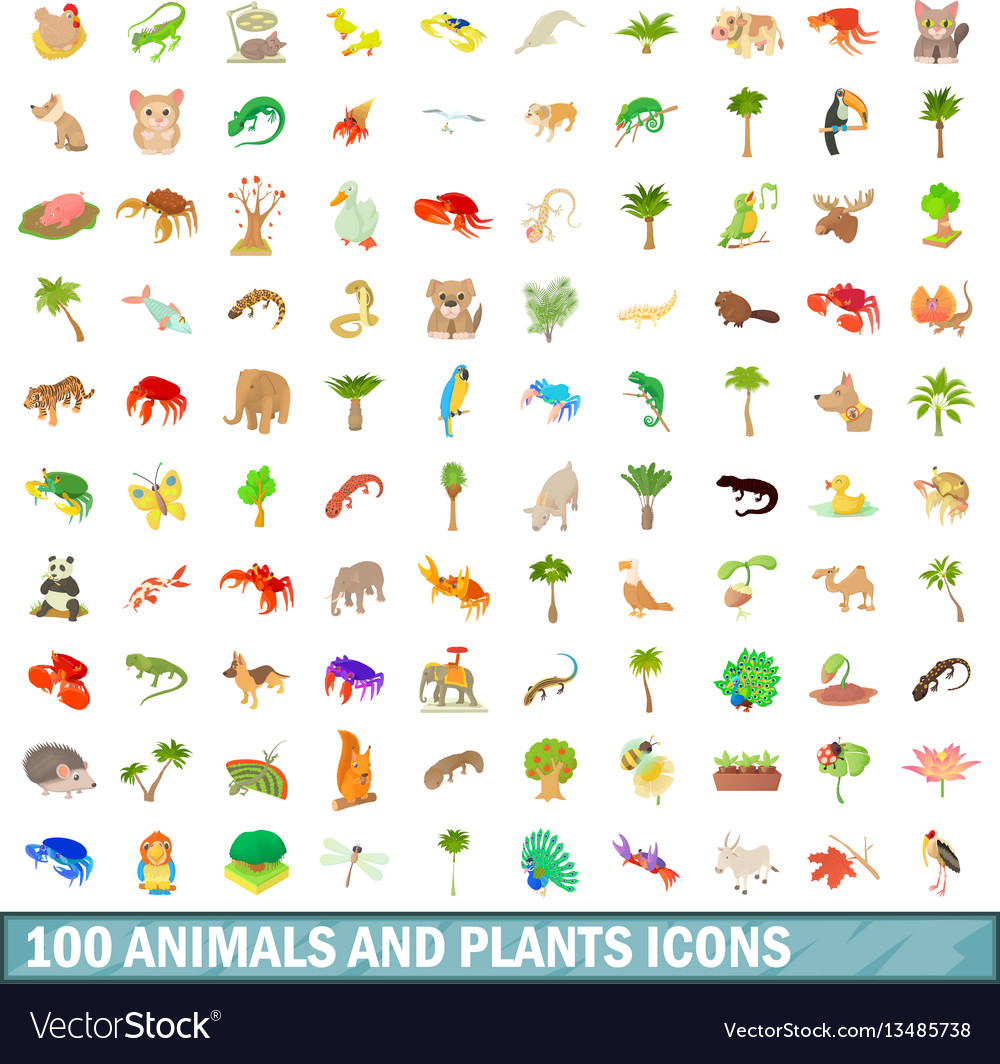 100 animals and plants icons set cartoon style