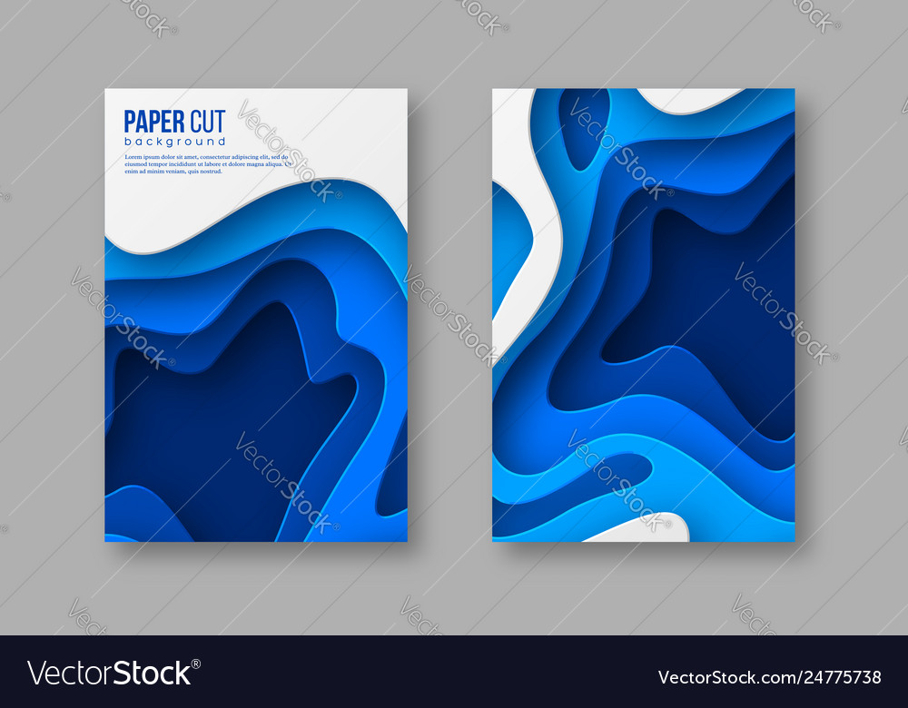 Abstract 3d paper cut posters