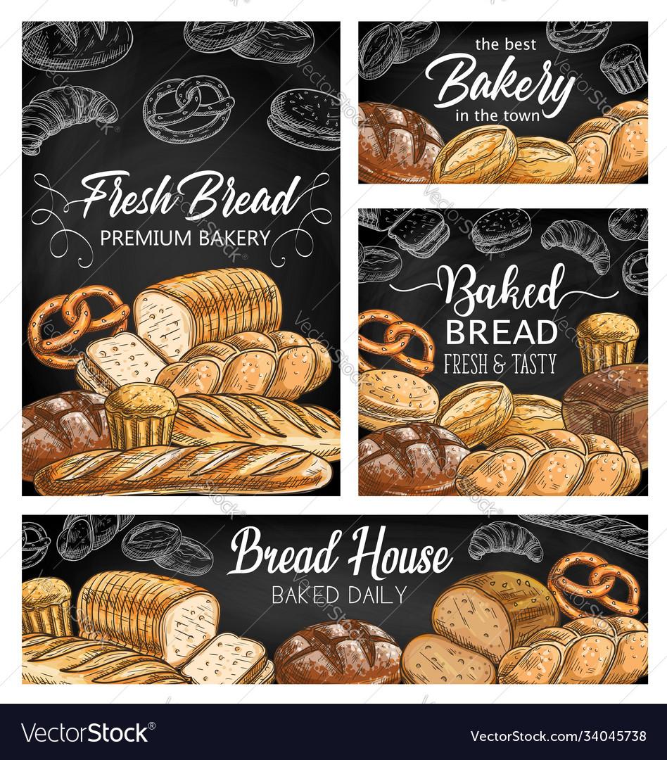 Bakery fresh bread sketch banners