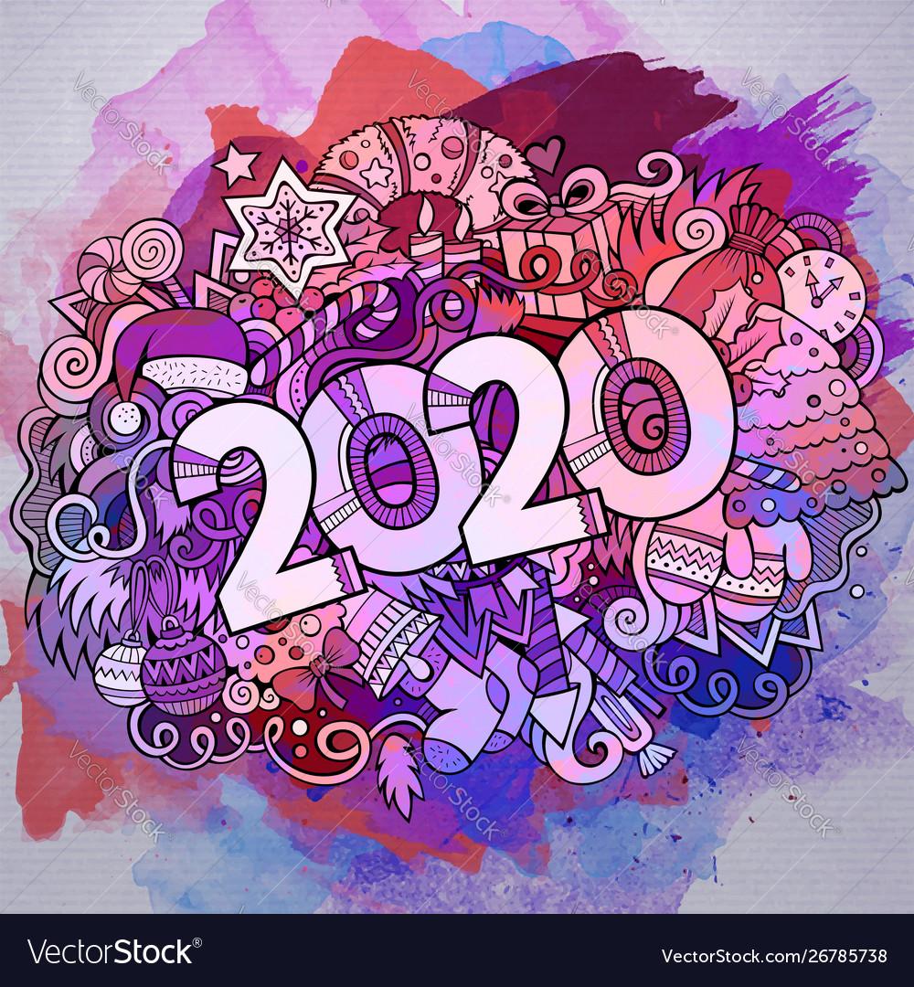 Cartoon cute doodles hand drawn 2020 year