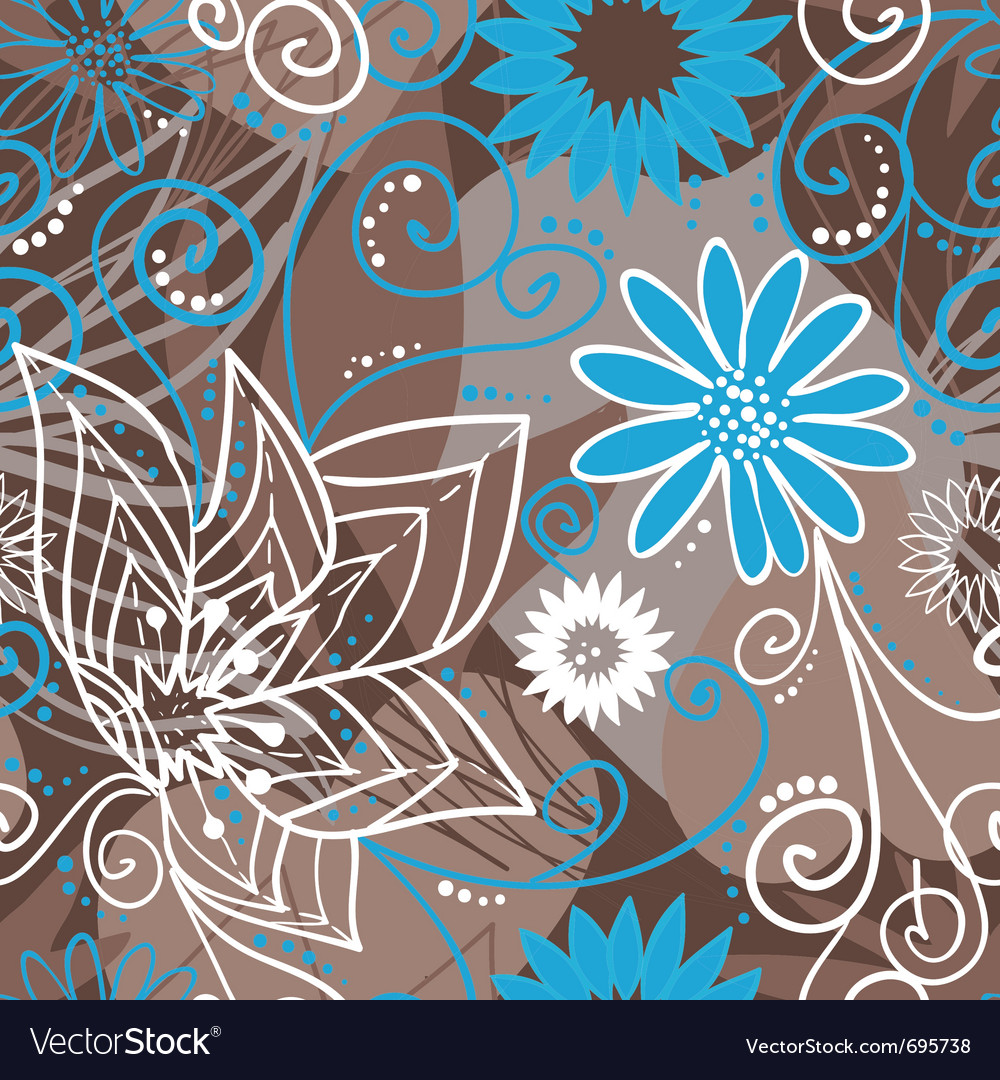 Coffee-and-blue floral pattern vector image