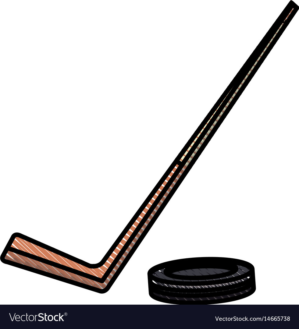 Drawing hockey stick and puck sport image