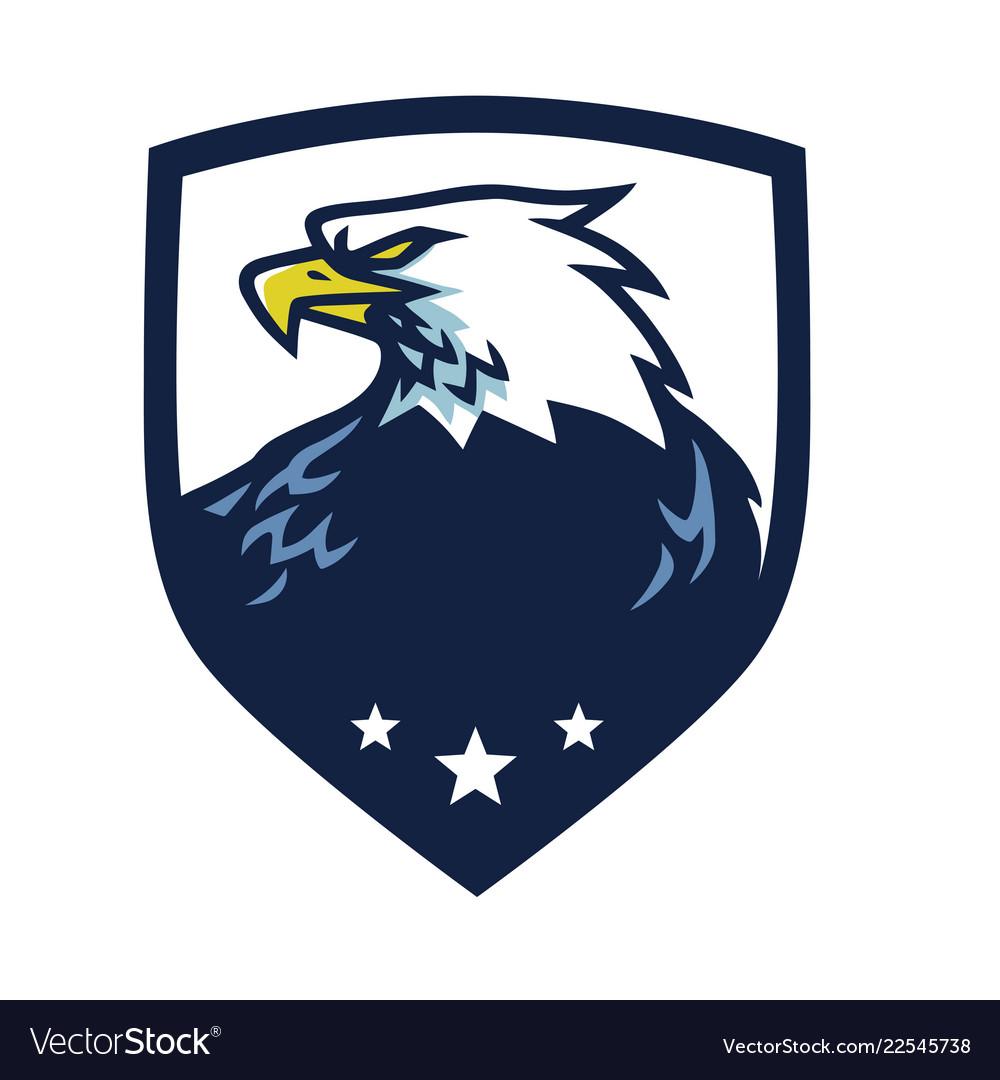 Eagle head mascot with shield emblem