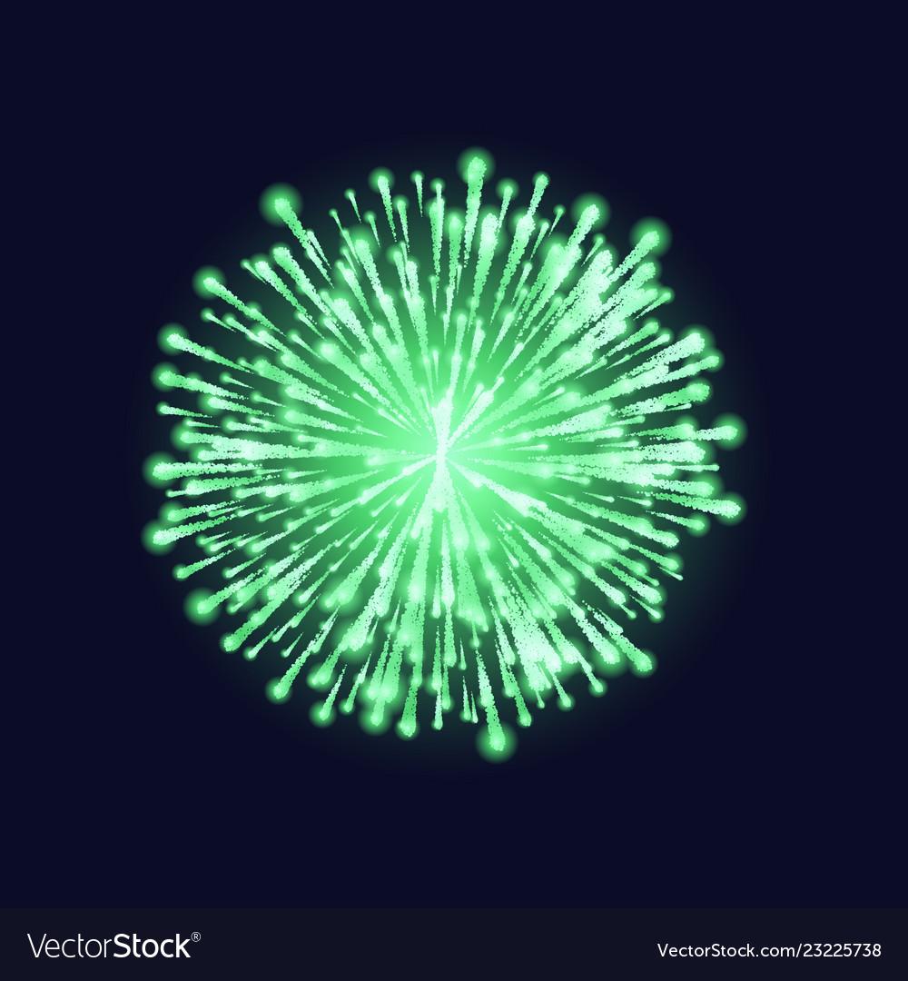 Firework isolated beautiful green firework on
