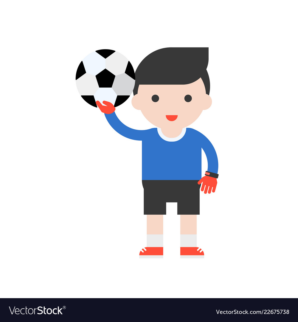 Goalkeeper and football set profession character