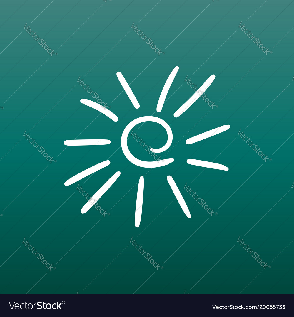 Hand drawn sun icon on green background