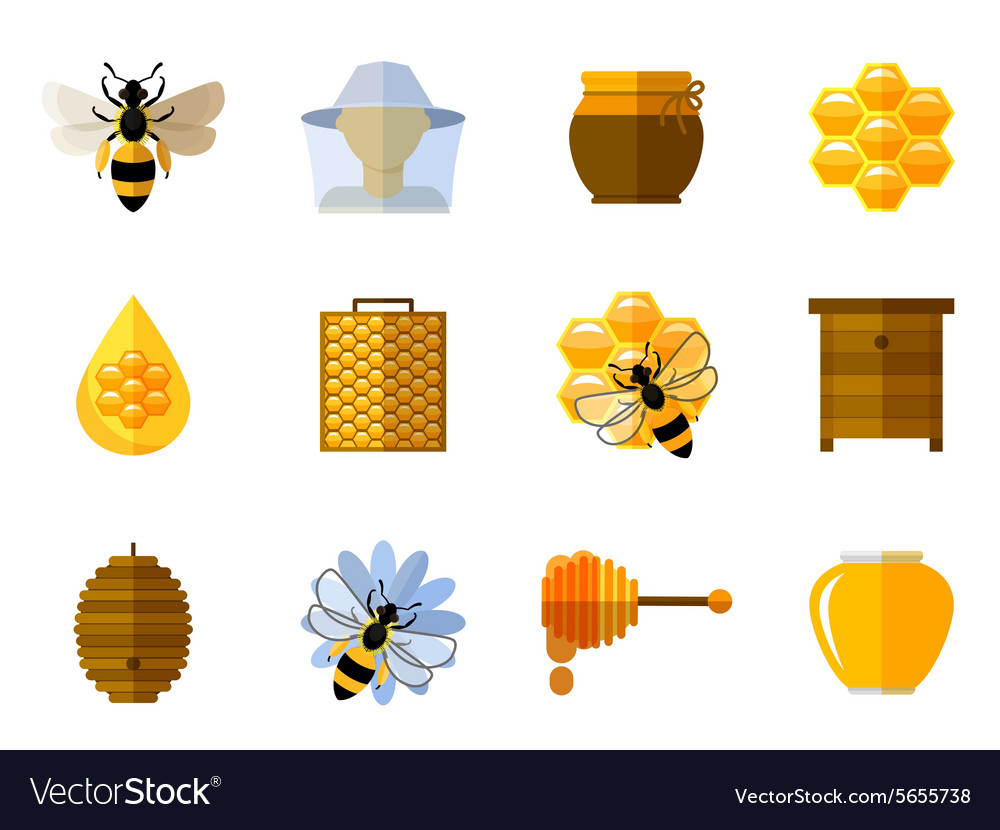 Honey and bee icons in flat set