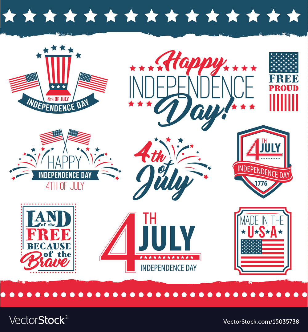 Independence day of the united states poster set
