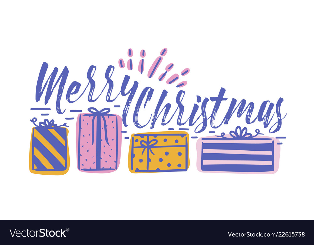 Merry Christmas In Cursive.Merry Christmas Holiday Wish Written With Cursive