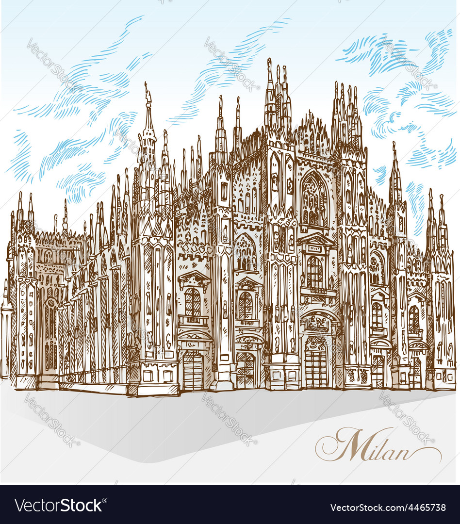 Milan cathedral hand draw