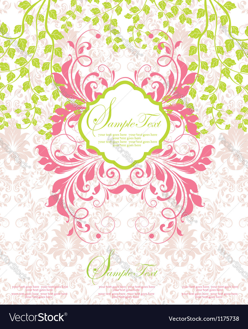 Pink and green abstract floral invitation