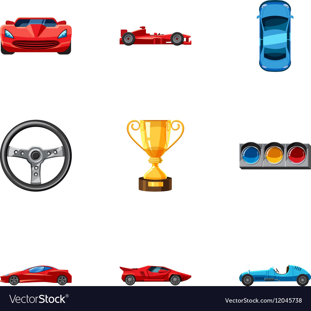 Racing accessories icons set cartoon style