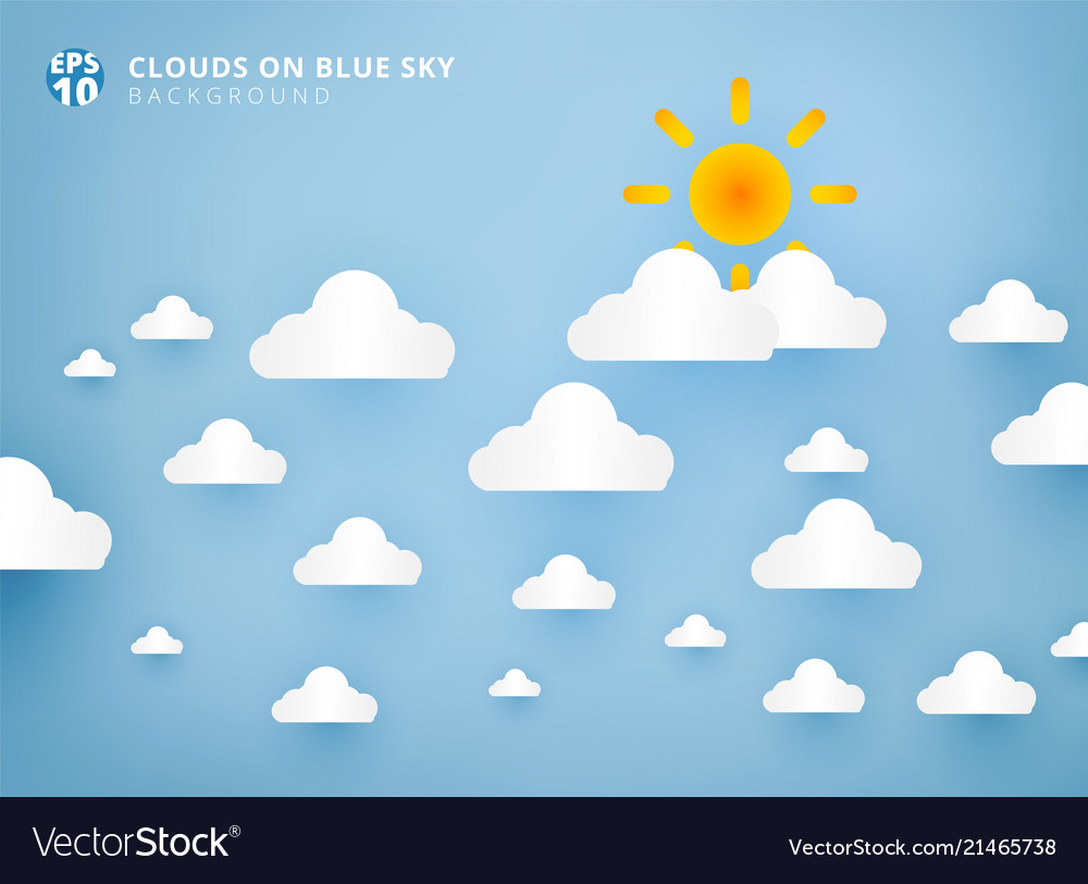 Sun and white clouds on pastel blue sky