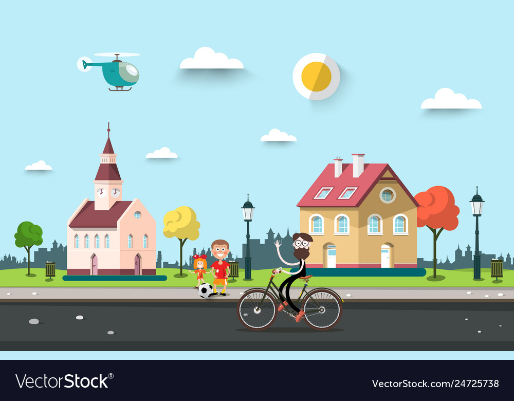 Sunny day in village or city park with houses man