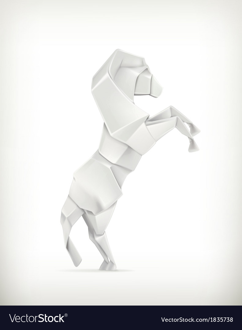 White Paper Horse Origami Royalty Free Vector Image