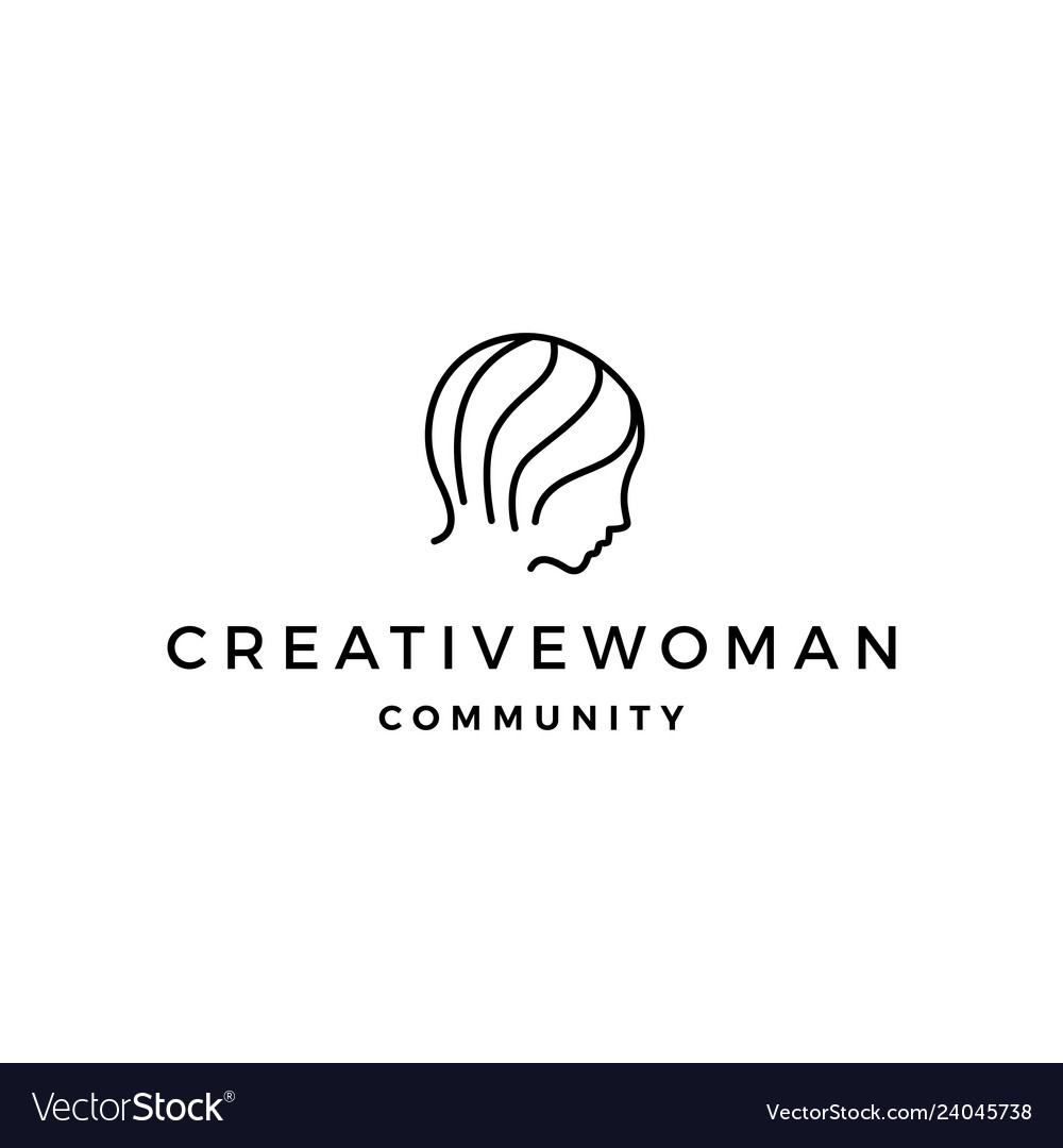Woman logo icon line outline monoline