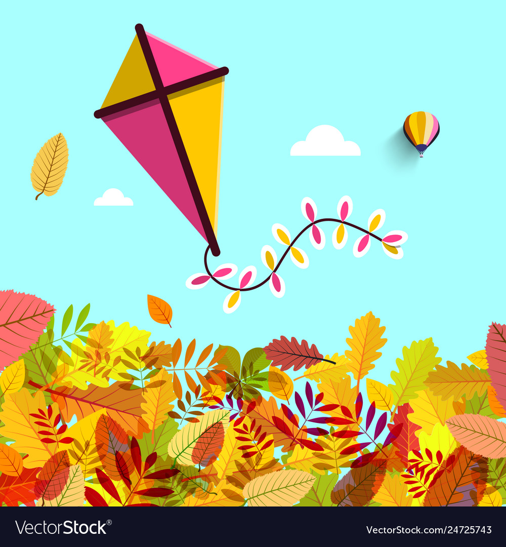 Autumn leaves with kite on blue sky fall