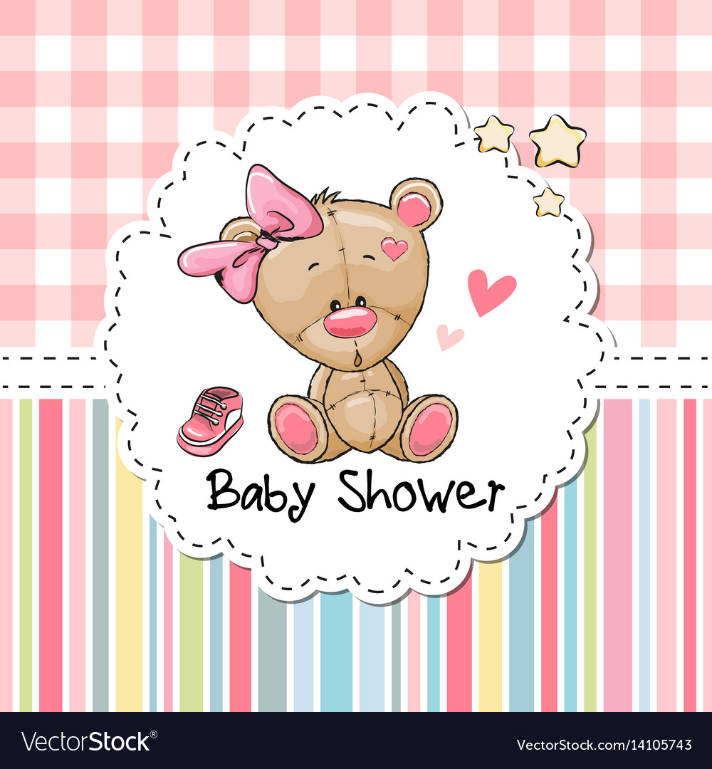 Baby shower greeting card with bear royalty free vector baby shower greeting card with bear vector image m4hsunfo