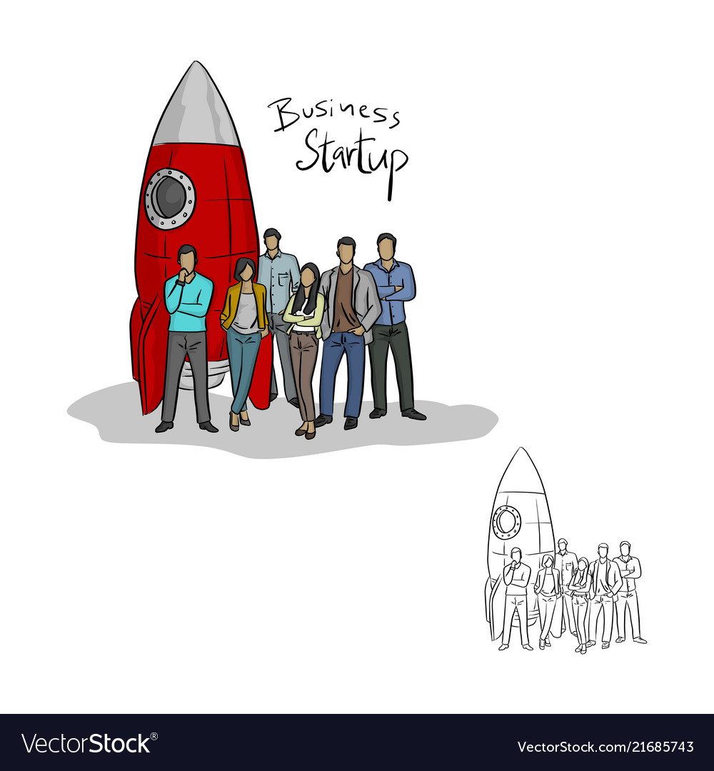 Businesspeople standing by a rocket