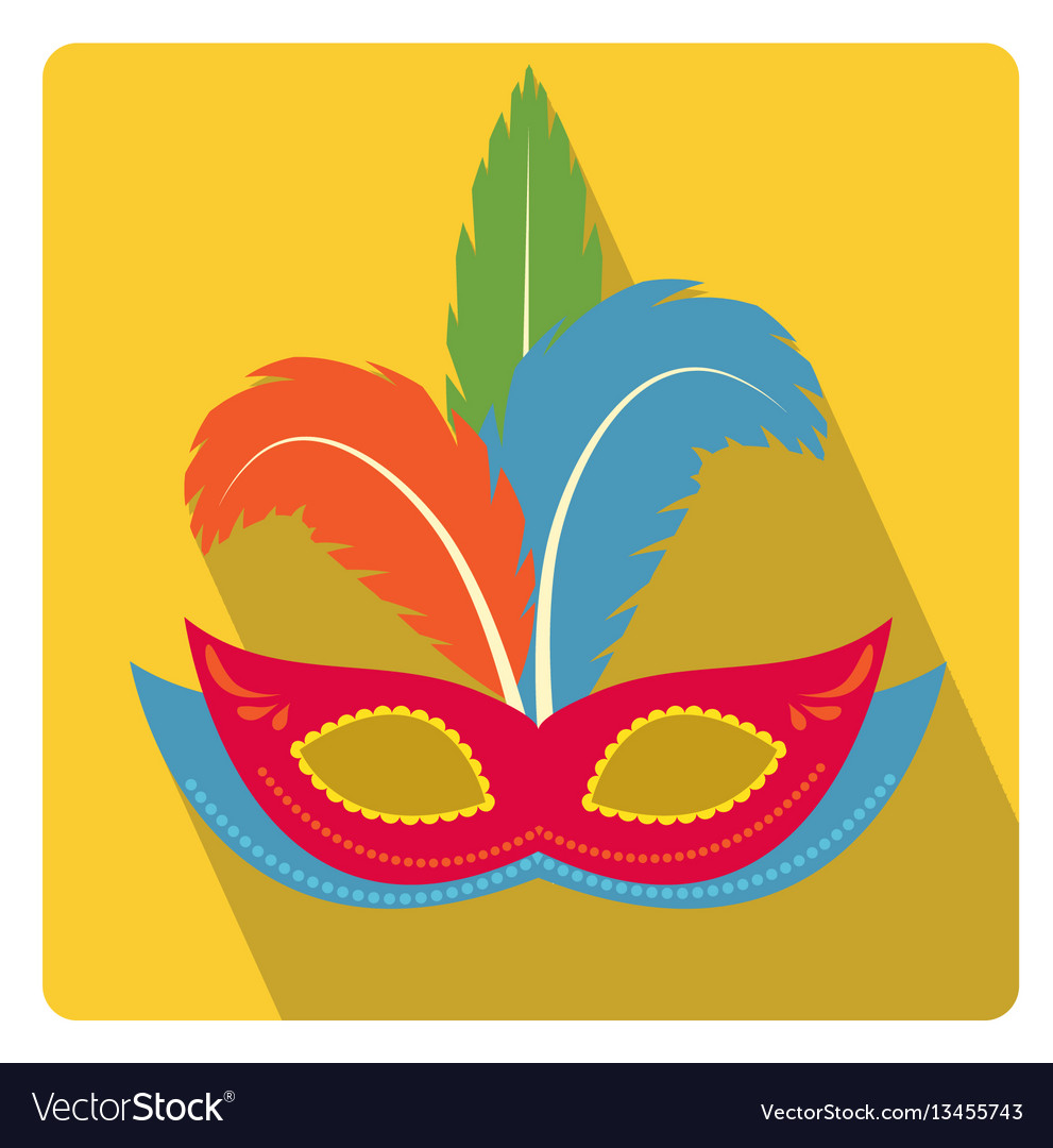 Carnival mask with feathers icon flat style