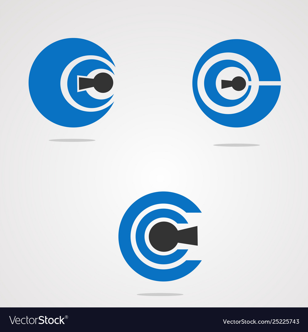 Circle key logo concept element icon and template