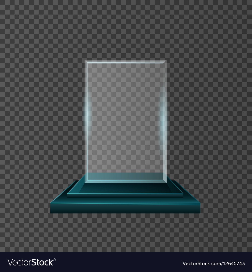 Empty glass trophy awards set design