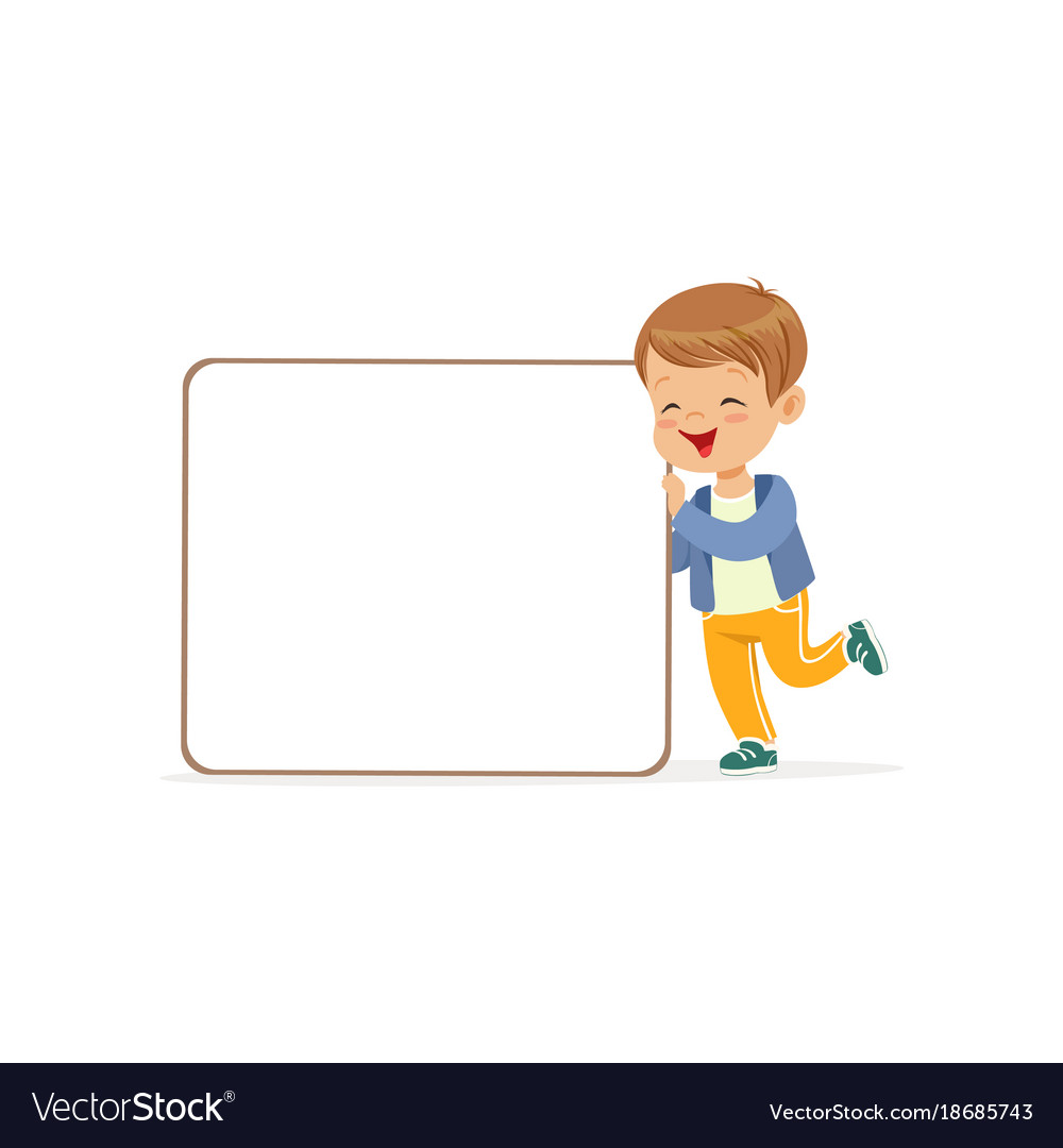 Happy boy character with white empty message board vector image