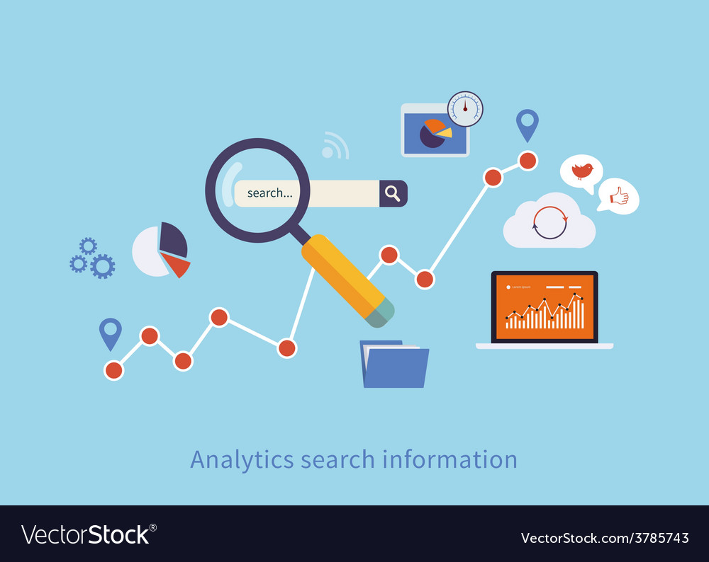 Icons set of analytics search information
