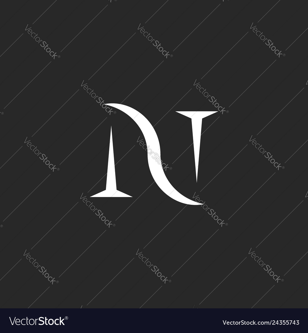Monogram initial letter n logo creative old